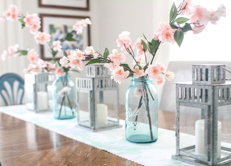 easy spring table decor cherry branches in mason jar