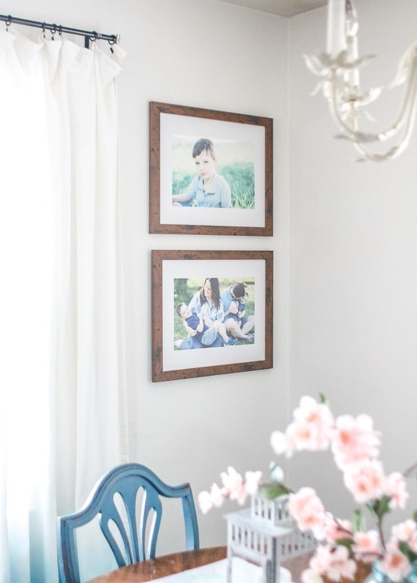 family photos in dining room