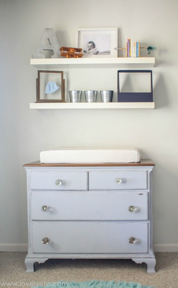 dresser painted decoart chalky finish everlasting with antique doorknobs, a painted dresser makes the perfect changing table