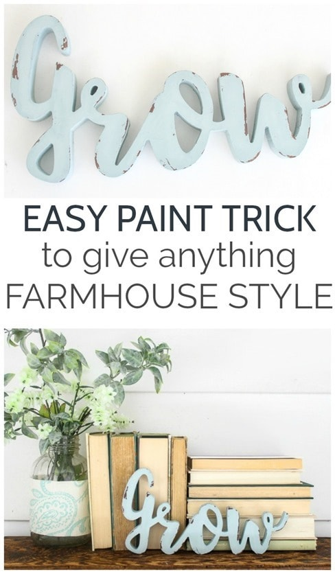 This easy paint trick will give anything farmhouse style.  Get a perfect chippy paint effect without using sandpaper at all.