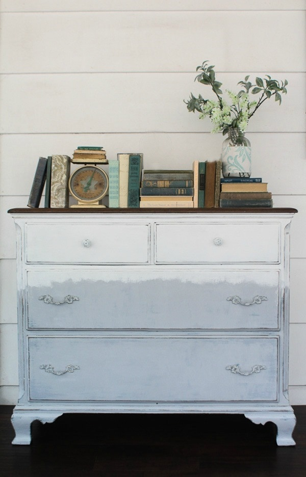 Handpainted gray and white dresser. A touch or modern farmhouse style plus a touch of boho.