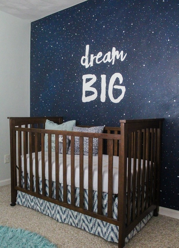 Nursery mural.  Navy accent wall with stars and Dream Big.  Step by step instructions make this an easy DIY mural.