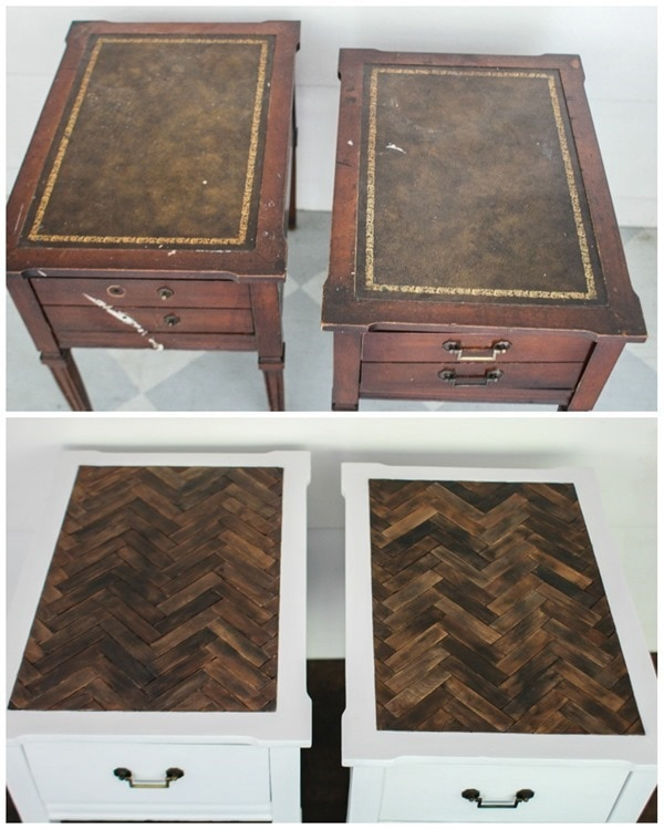 End table makeover with herringbone table tops. These gorgeous table tops are actually made with paint sticks!