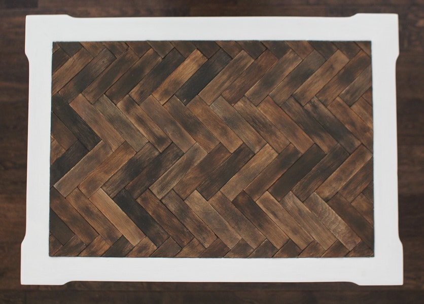 Herringbone Table Top With Paint Sticks