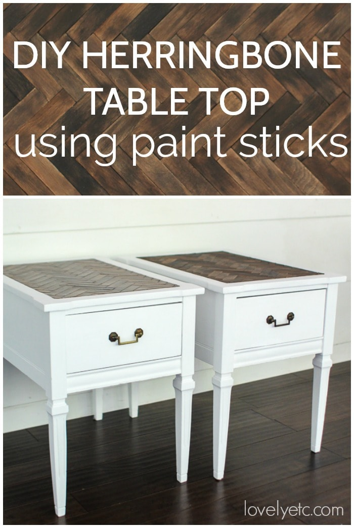 How to make a diy wood herringbone table top using inexpensive paint sticks.