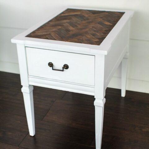 herringbone table top with paint sticks