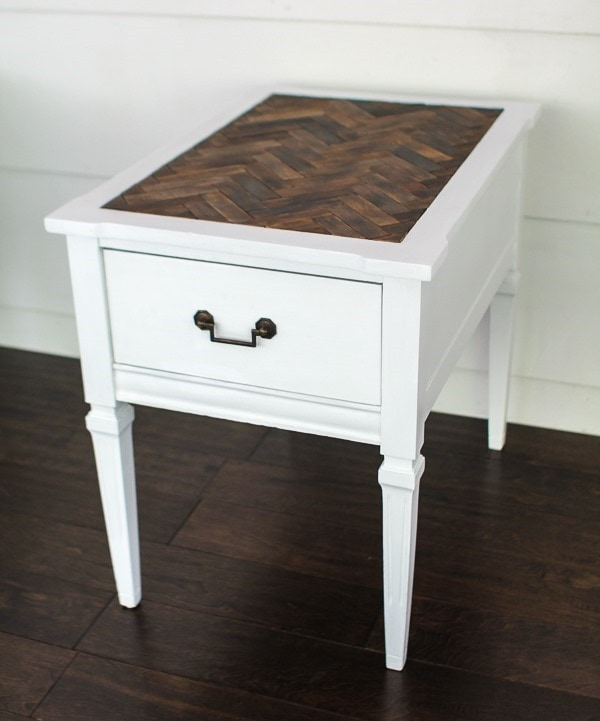 end table with herringbone top