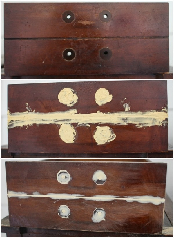 filling the holes in drawer front
