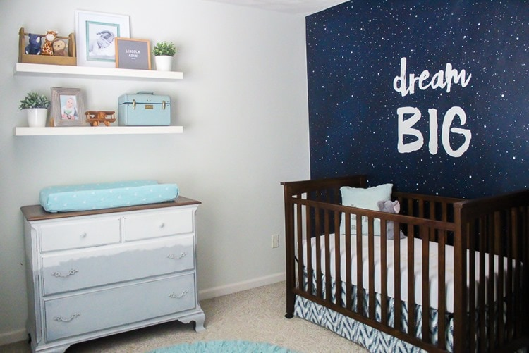 navy, gray, and white nursery