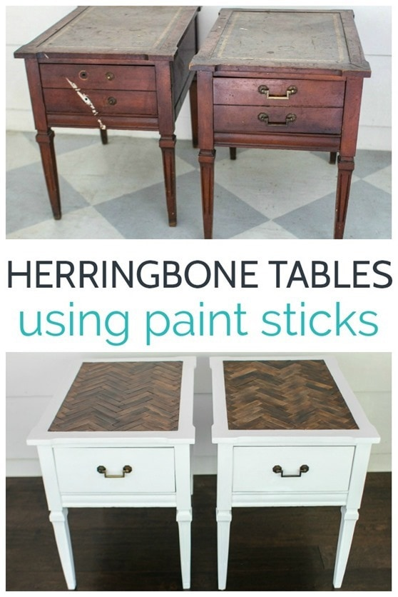 Admirable How To Make A Herringbone Table Top With Paint Sticks Theyellowbook Wood Chair Design Ideas Theyellowbookinfo