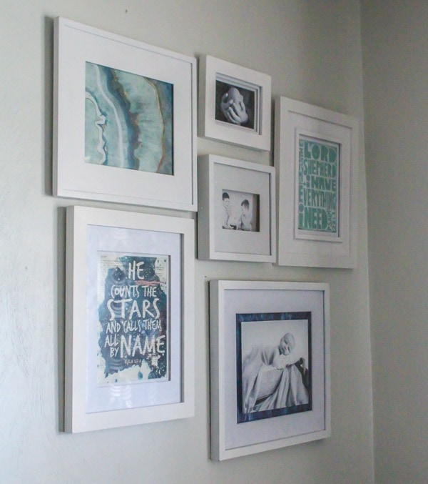 inexpensive gallery wall in nursery
