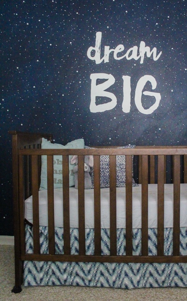 Dream Big mural in boy nursery.  Step by step tutorial.