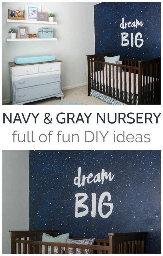 Navy and gray nursery full of unique DIY ideas including a star mural, painted dresser, and DIY art. Perfect as a boy nursery or for a gender neutral nursery.