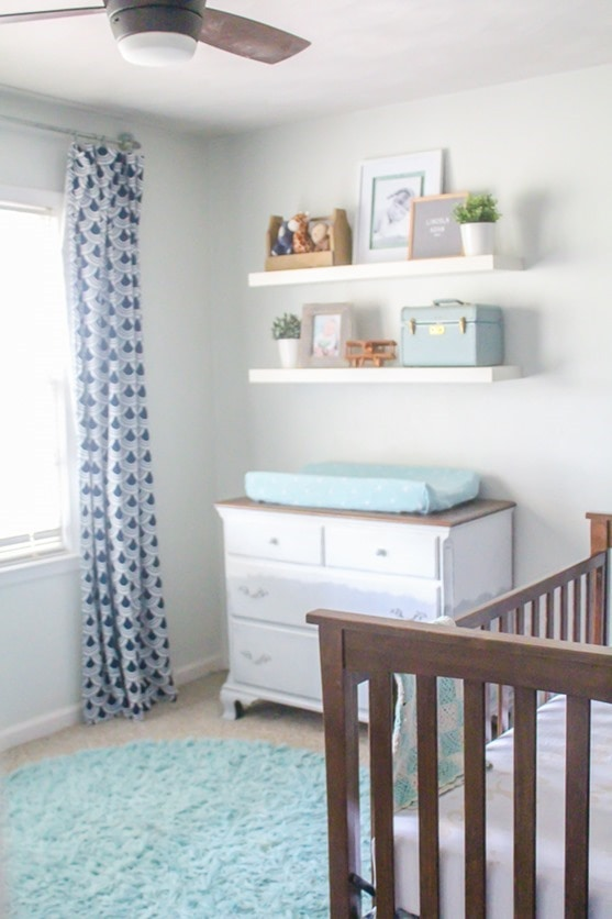 Navy, mint, and gray nursery full of DIY ideas.