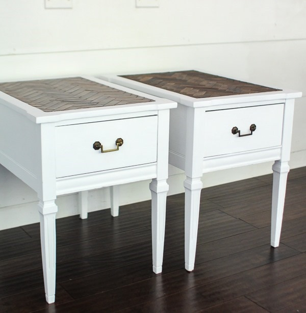 painted end tables with herringbone