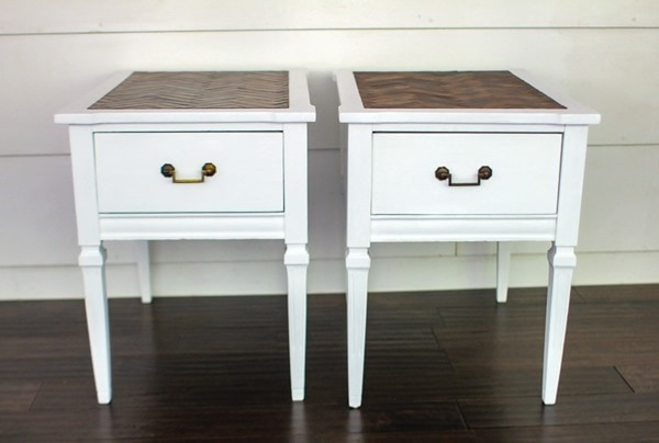 painted end tables with new hardware placement
