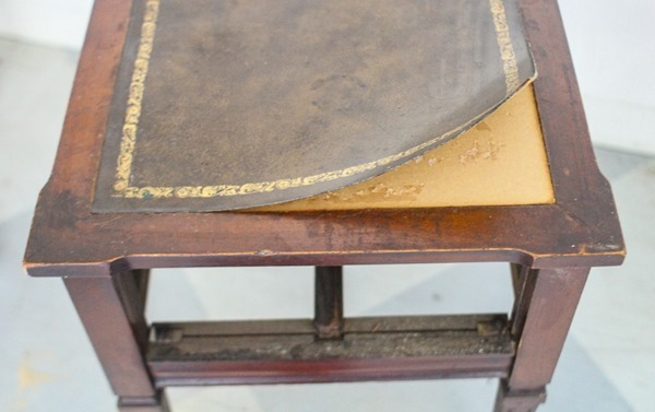 removing fake leather table top