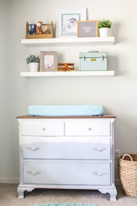 Unique painted dresser.  Makes a perfect changing table in the nursery or can be used in any room.