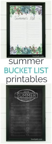 2019 Printable summer bucket list. Two different designs to choose from - succulents or chalkboard. Print it at home or print it as a huge engineering print and hang it on the wall.