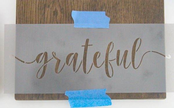 grateful stencil on wood