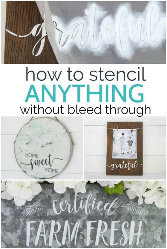 The secrets to perfect stenciling every time. How to stencil anything without bleed through plus three fun stenciled decor ideas.