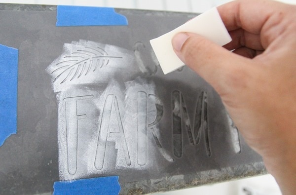 stenciling with a cosmetic wedge instead of a paintbrush