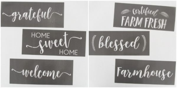 stencils for making wood signs - grateful, home sweet home, welcome, certified farm fresh, blessed, farmhouse