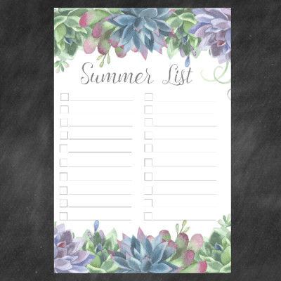 2018 Summer Bucket List Free Printables