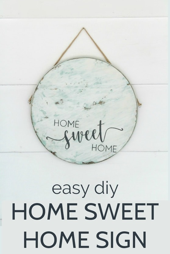 Step by step tutorial for making this easy home sweet home sign.  This round sign is perfect to use as front door decor or as diy wall art.