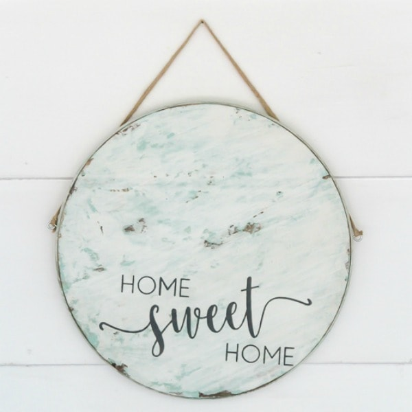 diy round home sweet home sign