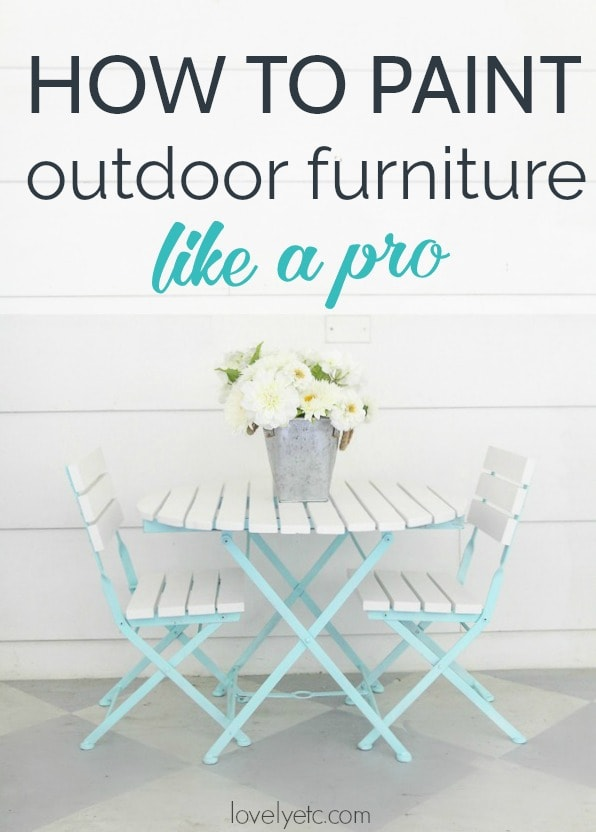 How to paint outdoor furniture like a pro. Materials to use and steps to take for a paint job that lasts when painting metal outdoor furniture and wood outdoor furniture.
