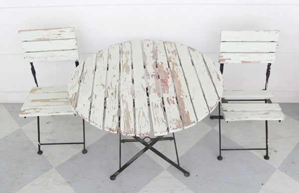 outdoor furniture with peeling paint