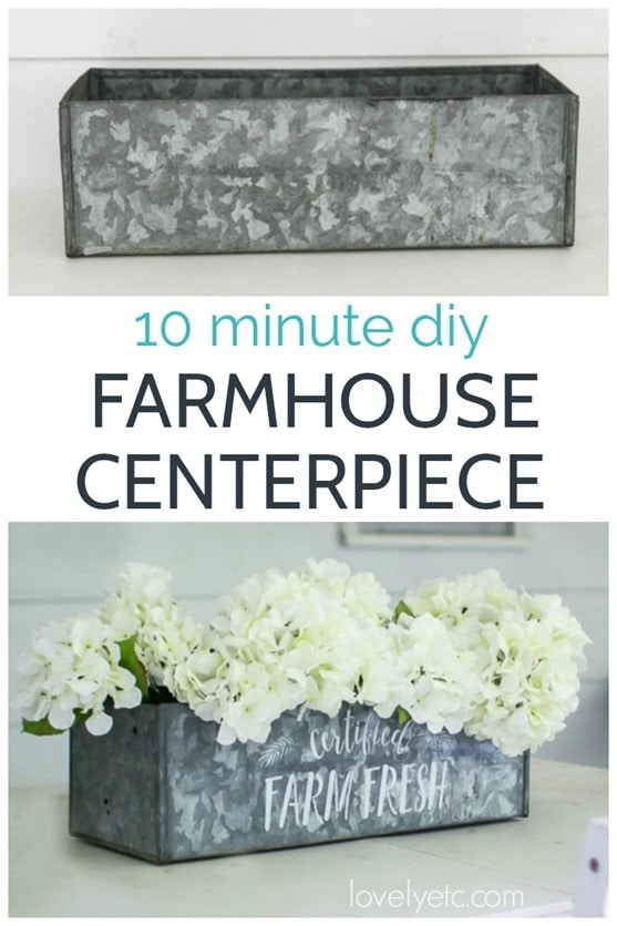 Easy DIY Farmhouse Centerpiece you can make in only ten minutes.