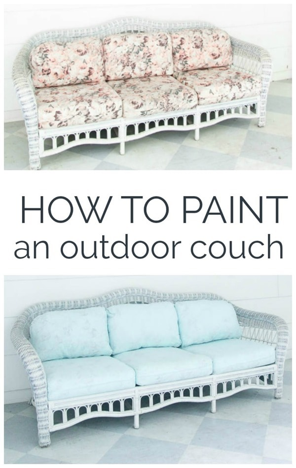 How to paint an outdoor couch.  Step by step tutorial for painting outdoor cushions and an honest look at the pros and cons.