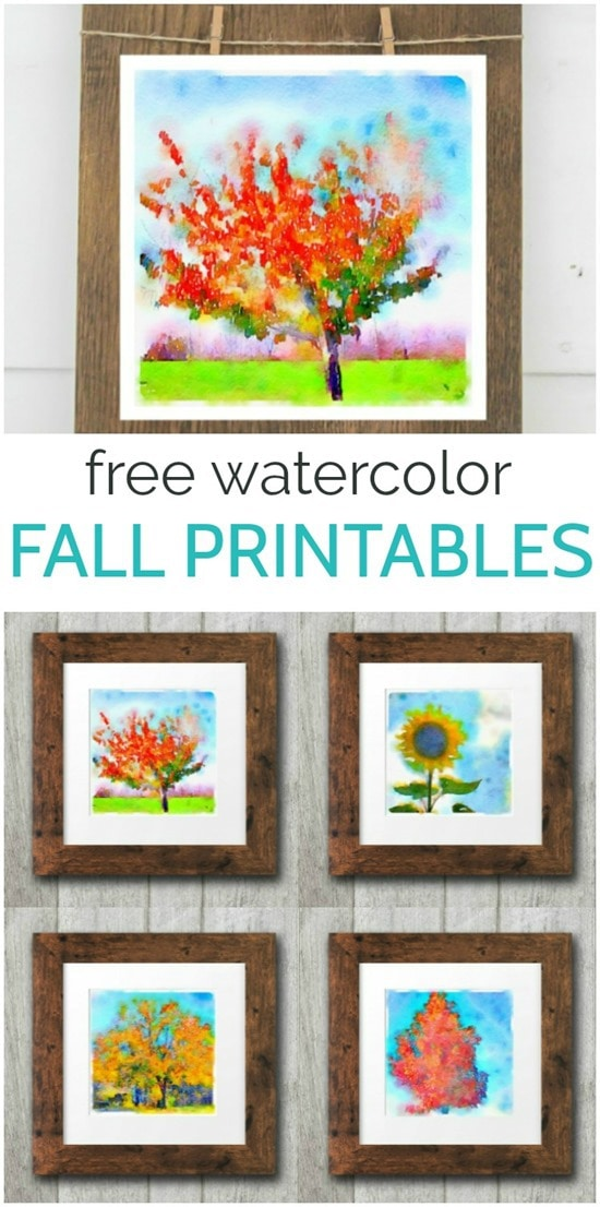 These free fall watercolor printables make the perfect free, easy fall decor. These fall tree printables make perfect fall art prints to add to a single frame or a gallery wall.