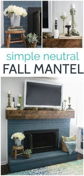 This simple neutral fall mantel is easy to put together without buying a single thing.  Plus that gorgeous chunky mantel and blue painted brick were inexpensive DIY projects with step by step instructions.