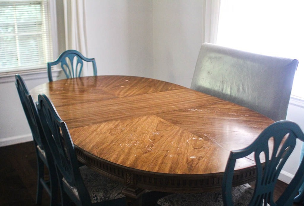 How To Refinish A Worn Out Dining Room Table Lovely Etc