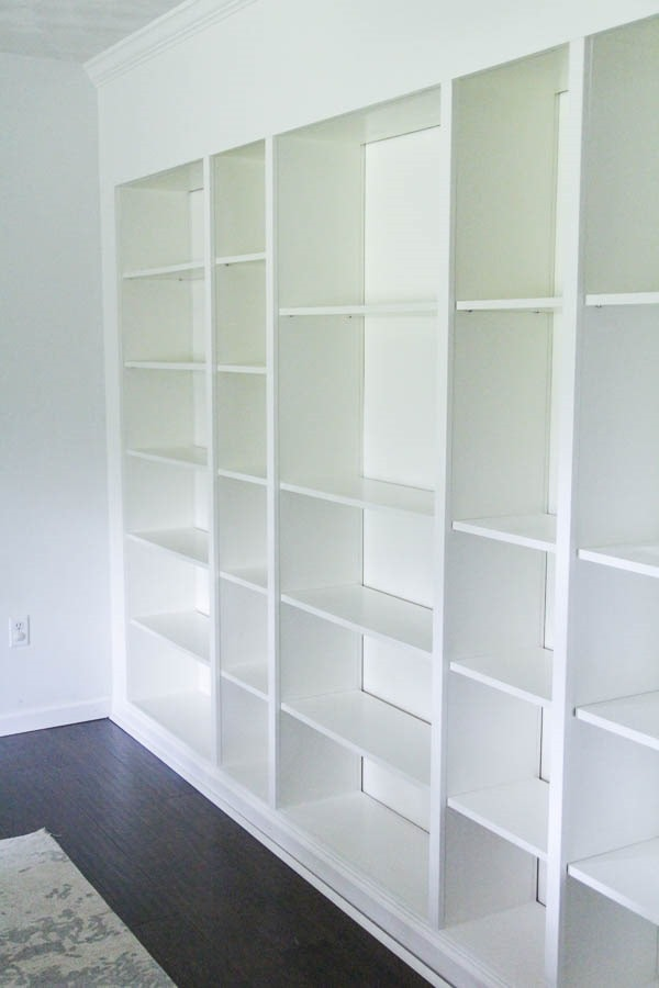 IKEA billy bookcases turned into beautiful built in bookshelves.