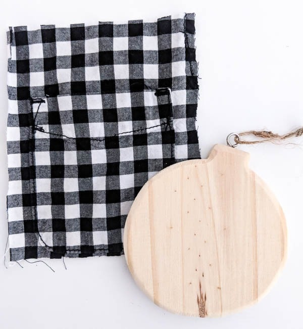 plaid pocket and wood ornament shape for diy plaid ornament