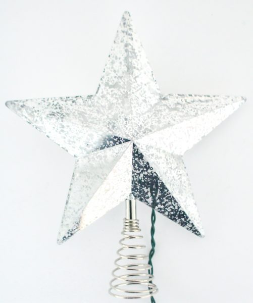Light up silver leaf Christmas star.
