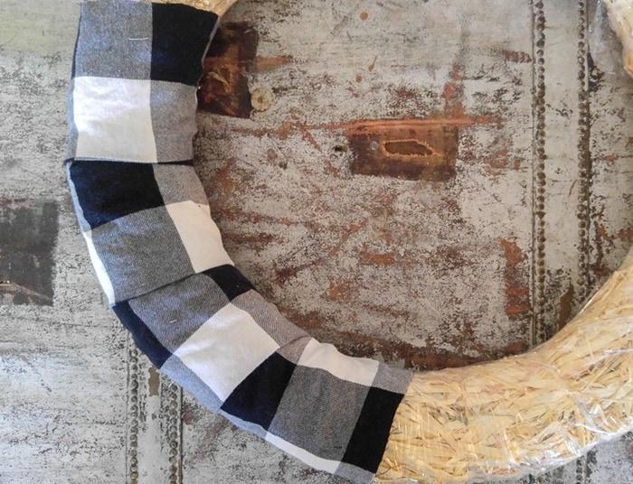 adding the fabric for diy wreath