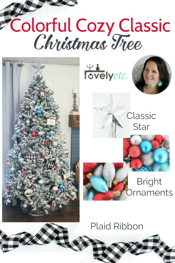 collage of decorated tree, classic silver Christmas star, red and turquoise sparkly ornaments, and buffalo plaid ribbon.