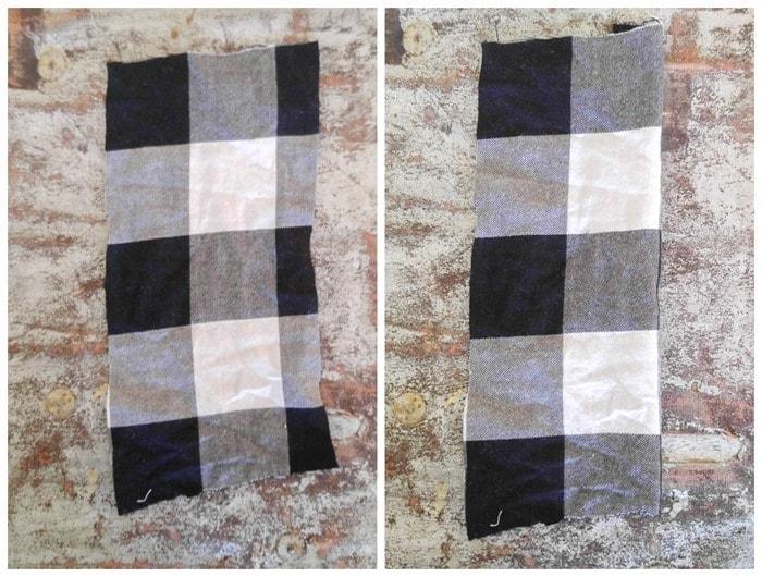 fabric pieces for buffalo plaid wreath