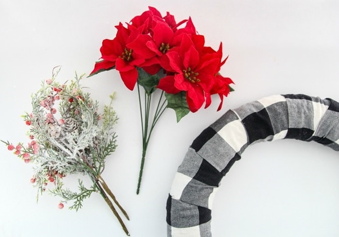 making a buffalo plaid christmas wreath