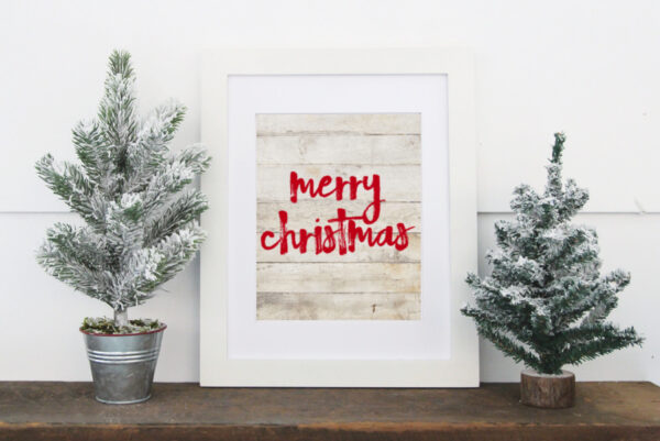 framed Merry Christmas free printable.
