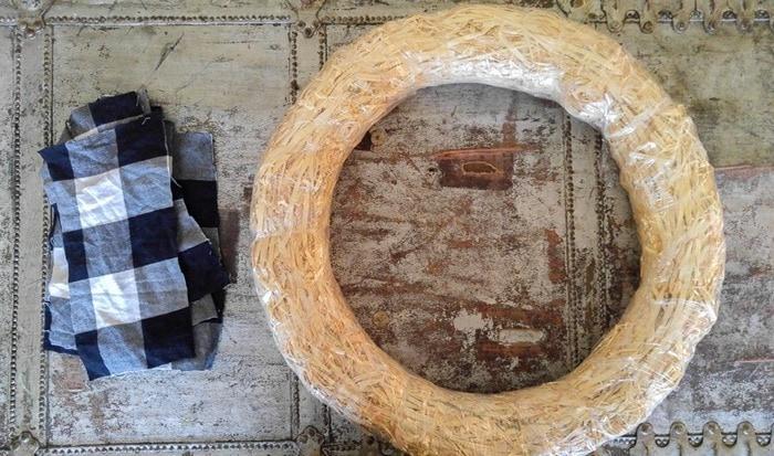 plaid fabric scraps and wreath form for buffalo plaid wreath