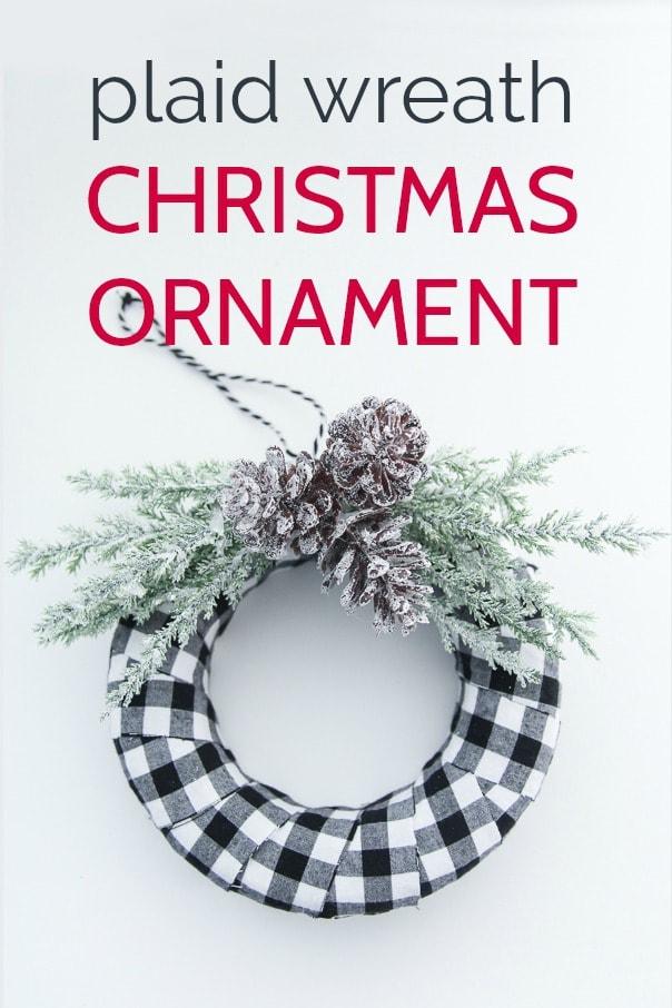 DIY buffalo plaid Christmas ornament on white background