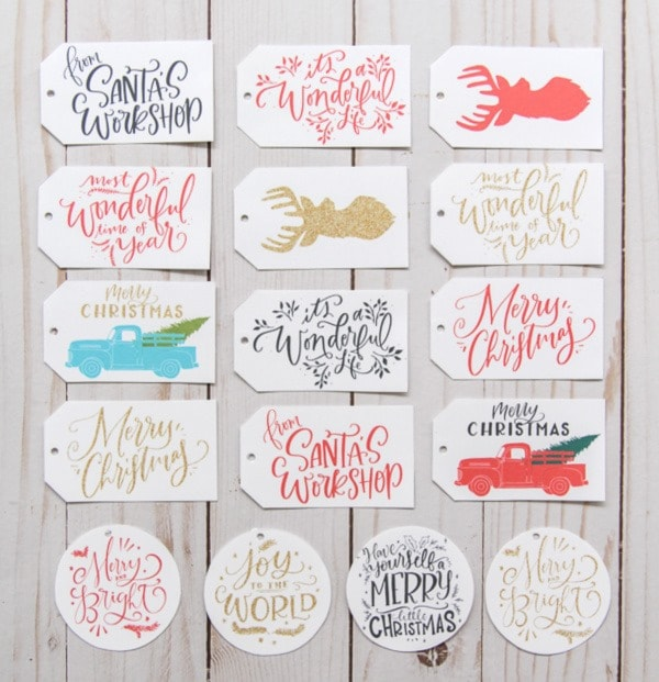 Free printable gift tags including favorite Christmas phrases, reindeer, and vintage trucks.