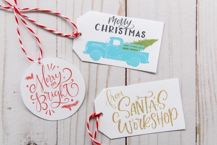 printable Christmas gift tags - vintage aqua truck with christmas tree tag, red merry and bright tag, and gold from Santa's workshop tag.