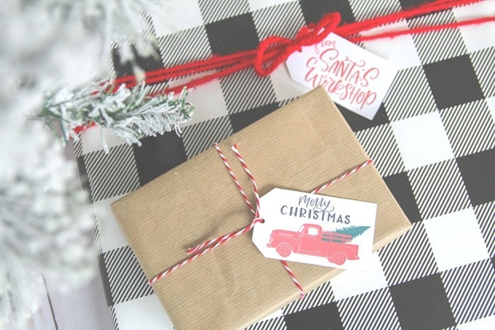 wrapping presents using free printable gift tags (1)